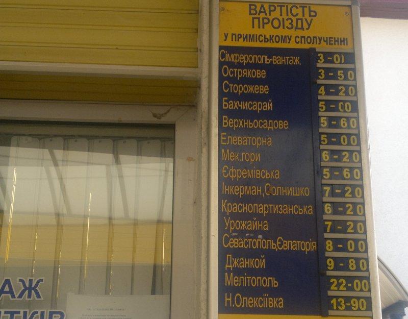 Cennik pociągów jeżdżących z Symferopola w różne zakątki Krymu