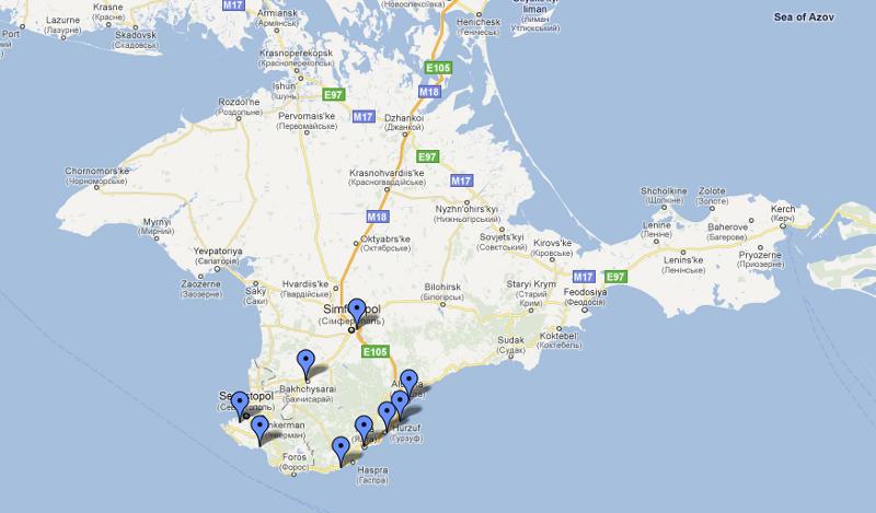 Miejsca jakie odwiedziliśmy na Krymie